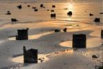 Sunset, Atlantic ocean, beach, pylons, reflections, tide pool