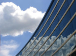 architecture, modern, clouds, glass, abstact