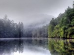 landscape, lakes, mist, reflection, country, north carolina