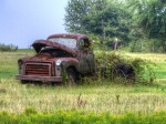 antique truck, scenery, abandoned truck, rustic